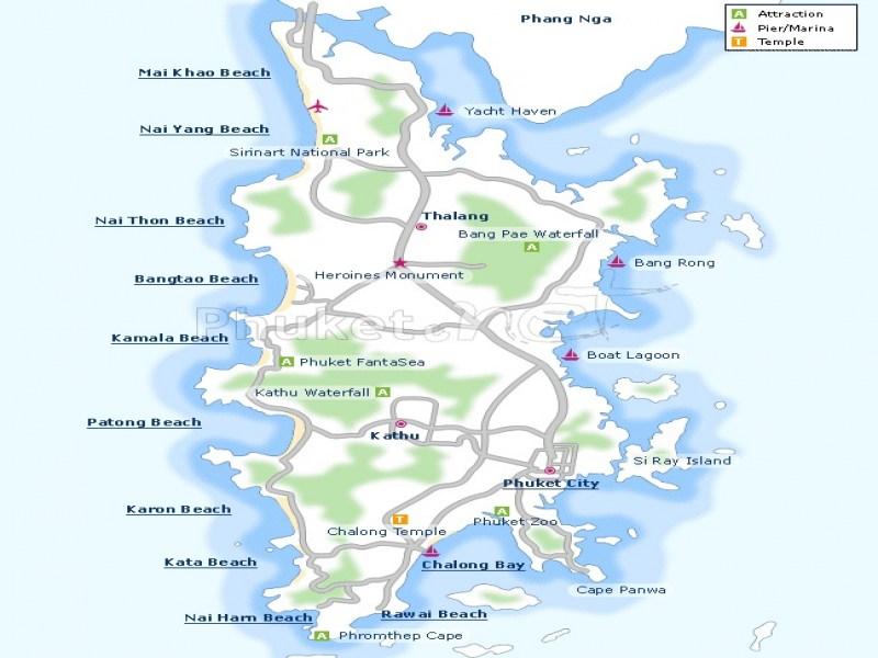 Map of Phuket Island Thailand PhuketNet